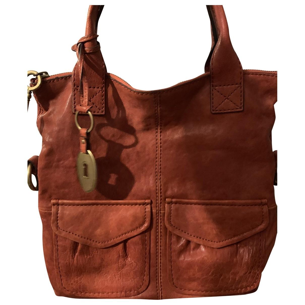 Fossil \N Handtasche in  Rot Leder