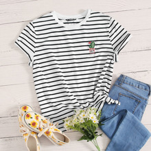 Cactus Embroidered Striped Tee