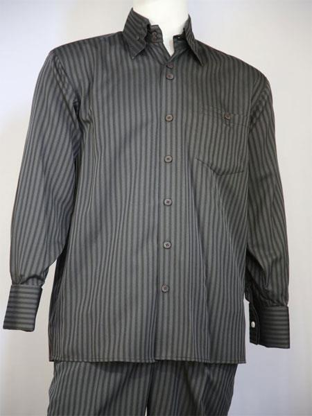 Mens Classic Striped Design Grey Walking Suit