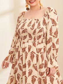 Plus Flounce Sleeve Shirred Detail Allover Botanical Print Dress