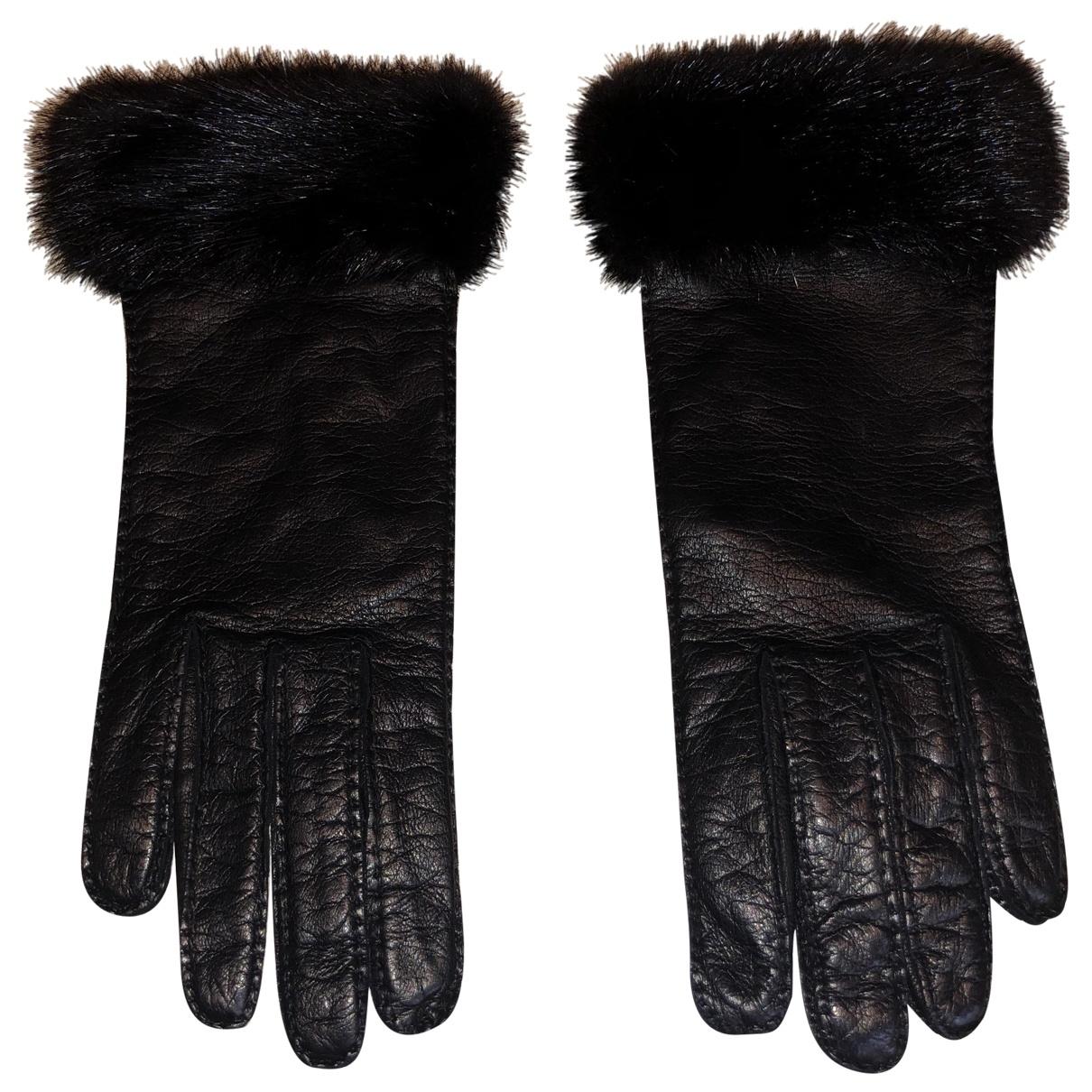 Prada \N Black Leather Gloves for Women S International