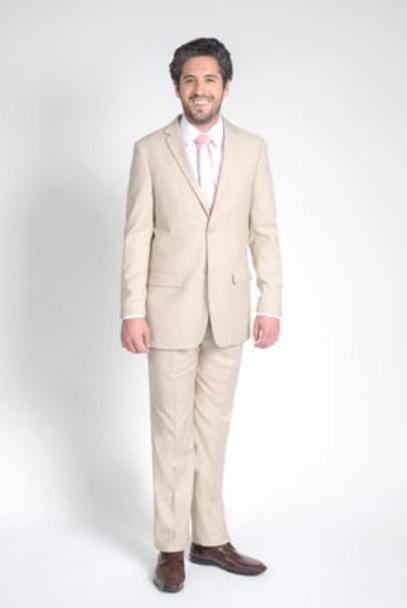 Mens 2 Button Tan/Beige Slim Fit Suit