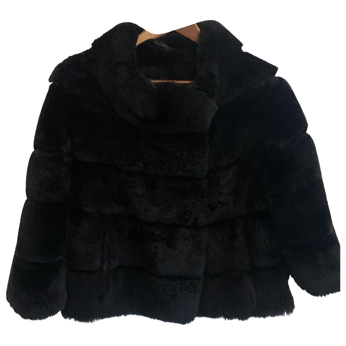 Sprung Freres - Manteau   pour femme en lapin - noir