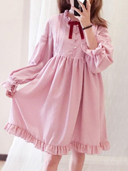 Milanoo Vestido de una pieza de Lolita OP vestido clasico volante plisado gasa lolita