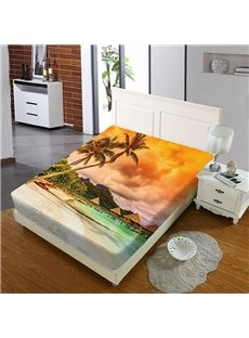 Hawaiian Beach Vacation Style Reactive Printing 1-Piece Polyester Bed Cover / Mattress Cover