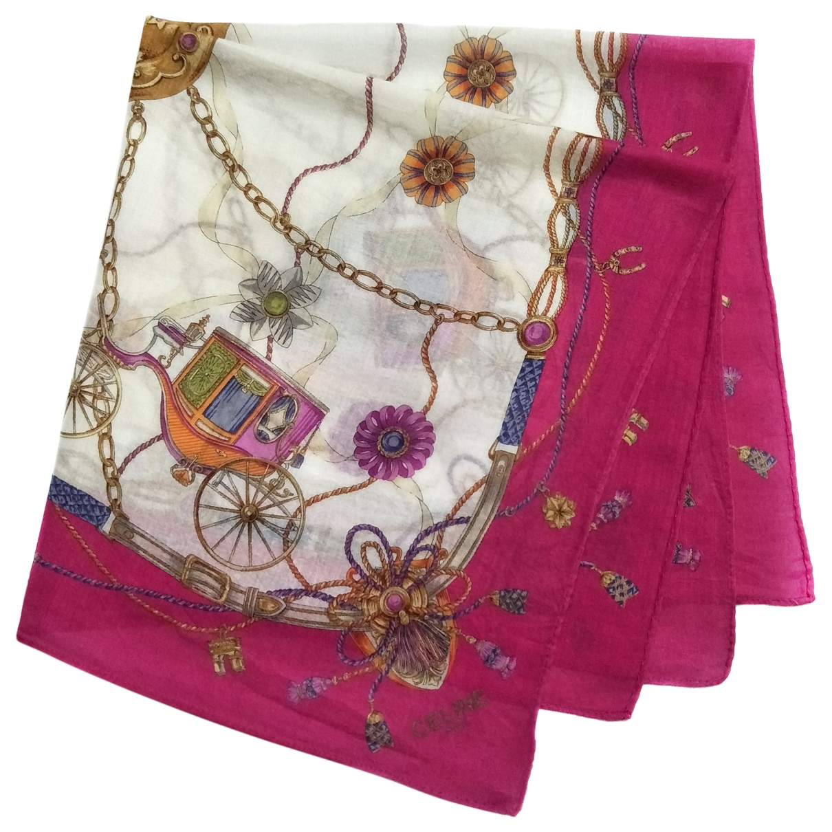 Celine \N Pink Cotton Silk handkerchief for Women \N