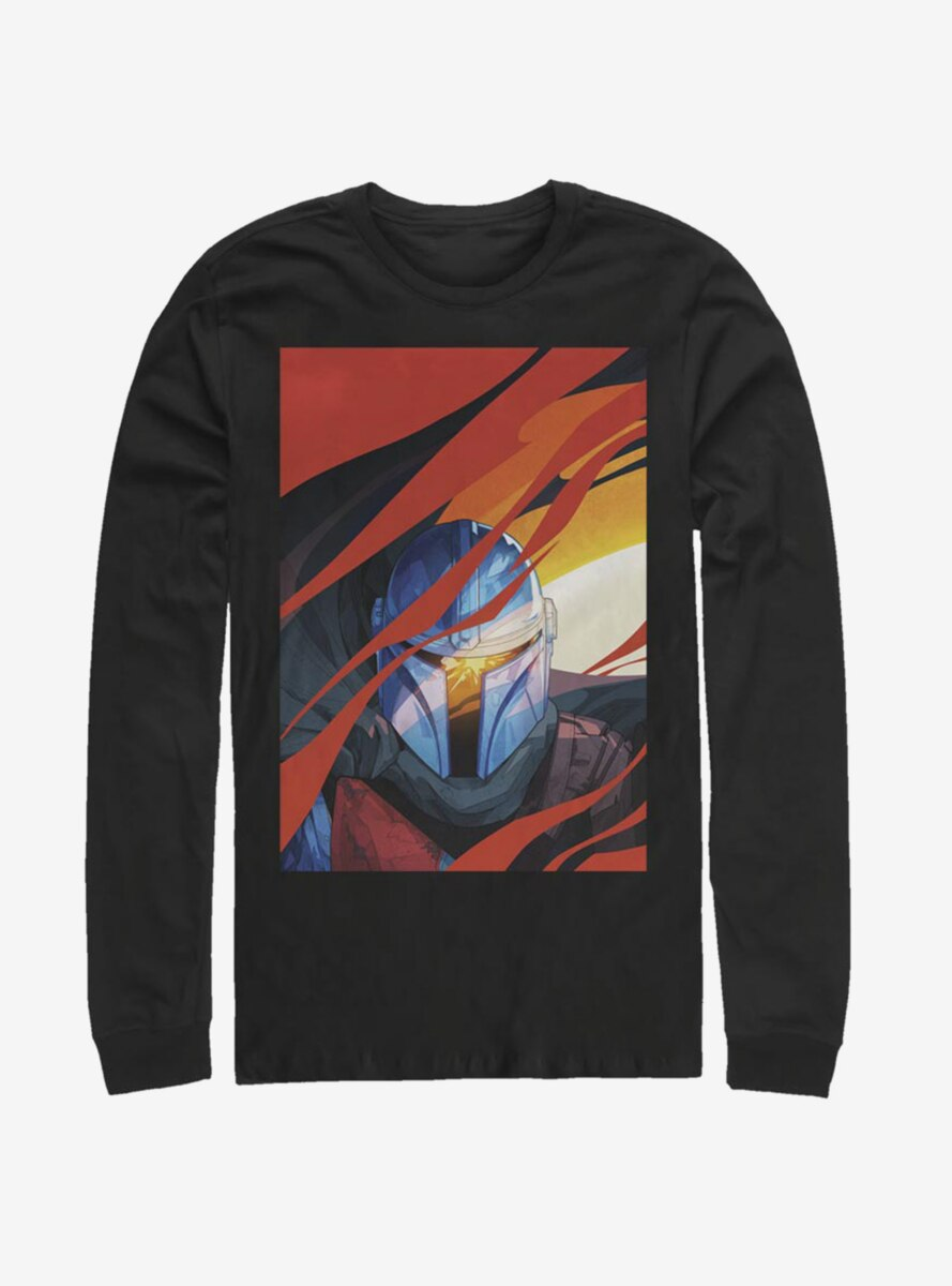Star Wars The Mandalorian Illustrated Mandalorian Smoke Long-Sleeve T-Shirt