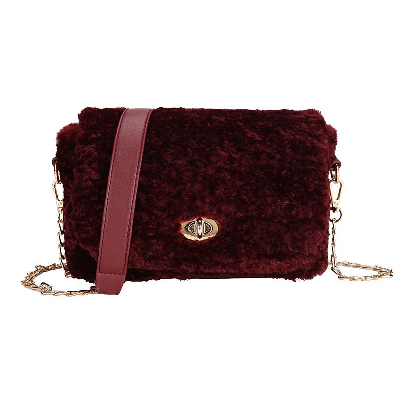Ericdress Lock Plain Velour Rectangle Crossbody Bags
