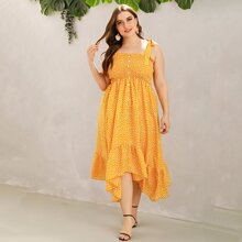 Plus Button Front Shirred Ruffle Hanky Hem Ditsy Floral Sundress