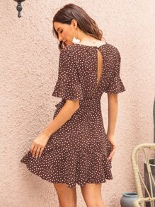 Surplice Front Belted Ruffle Hem Polka Dot Dress