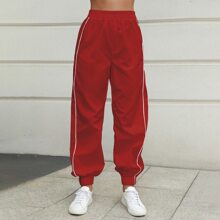 Double Crazy Side Stripe Elastic Waist Sweatpants