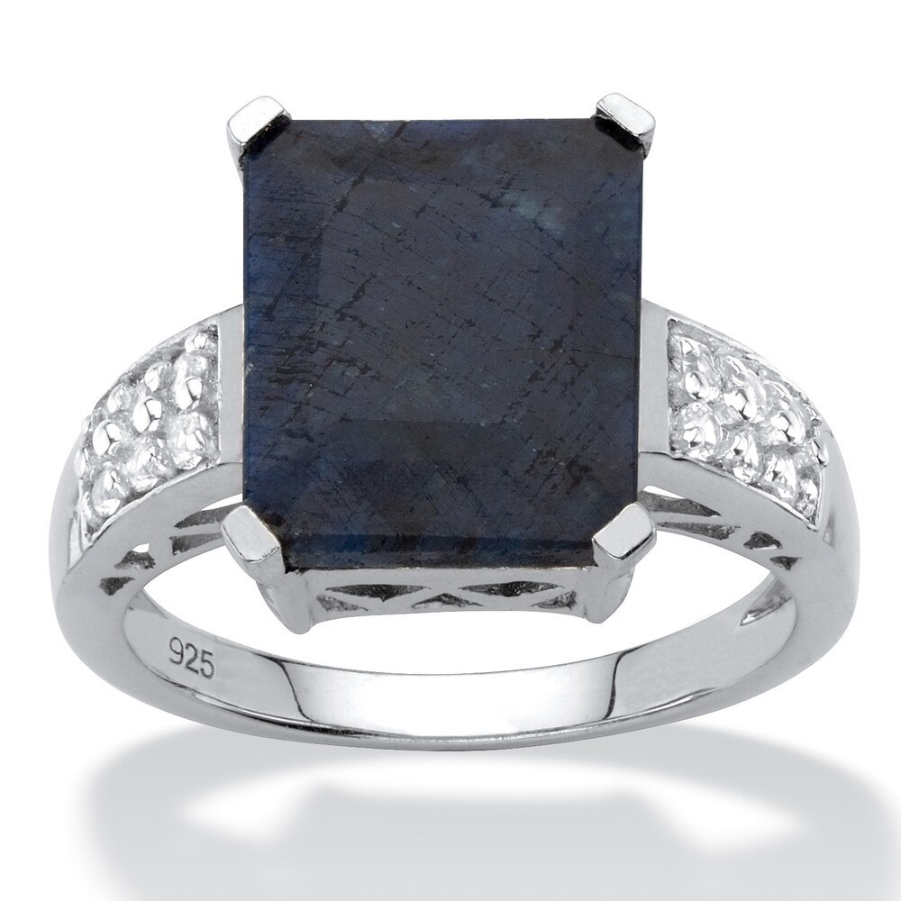 Sterling Silver Genuine Blue Sapphire and Round Genuine Topaz Ring (6)