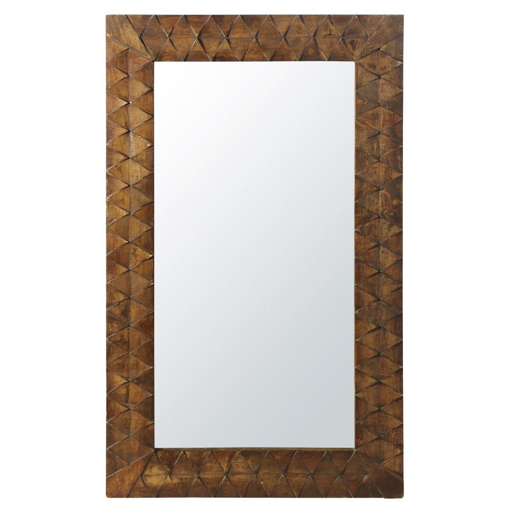 Spiegel mit Rahmen aus geschnitztem Mangoholz 80x133