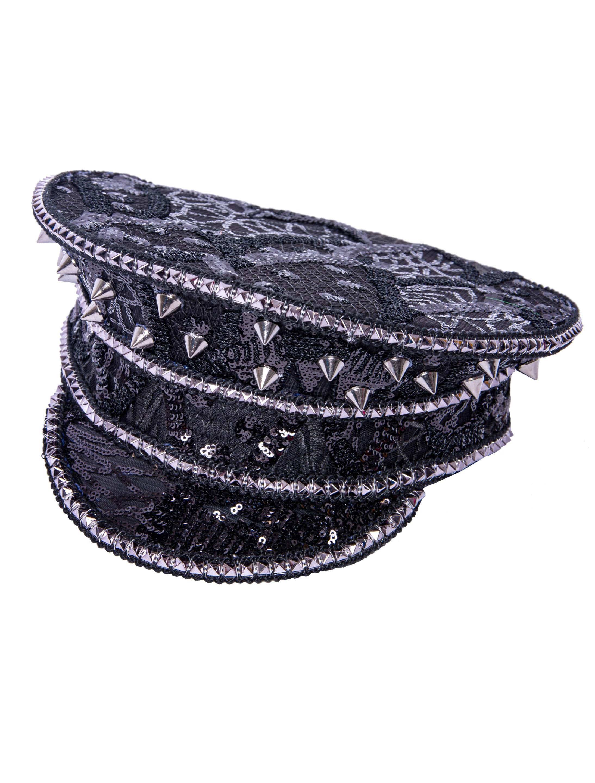 Kostuemzubehor Kappe Pailletten schwarz mit Nieten