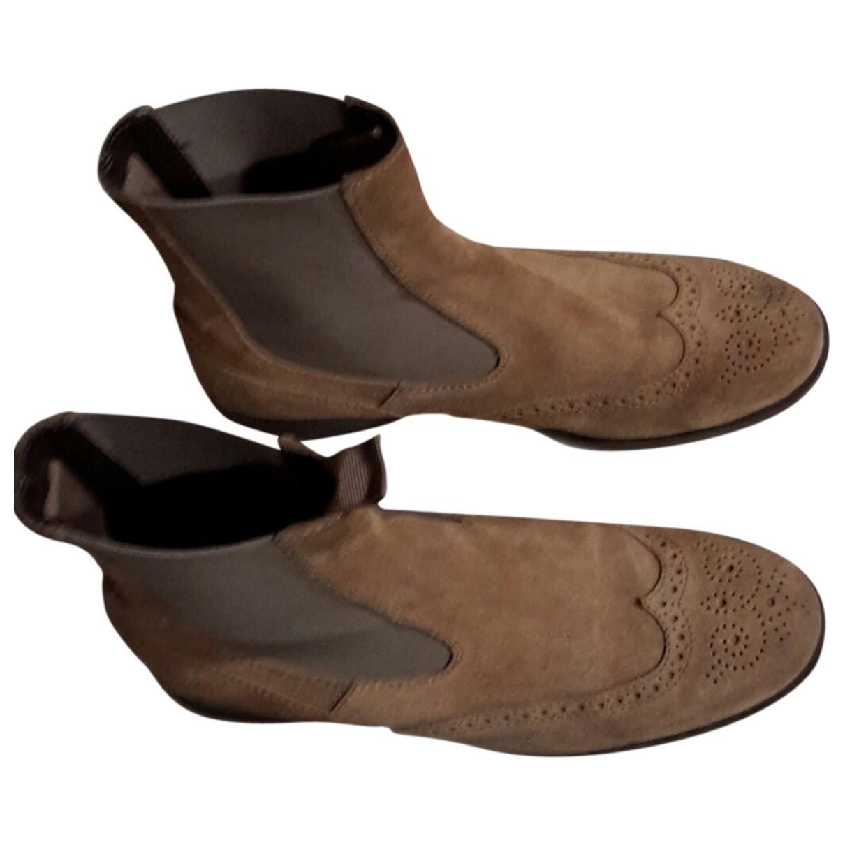 Hogan - Boots   pour femme en suede - ecru