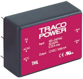 TRACOPOWER , 40W Embedded Switch Mode Power Supply SMPS, 5 V dc, ±15 V dc, Encapsulated