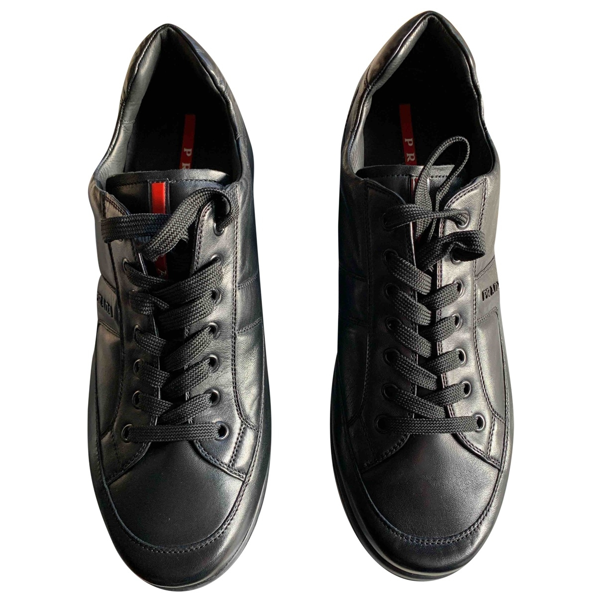 Prada \N Black Leather Trainers for Men 10 US