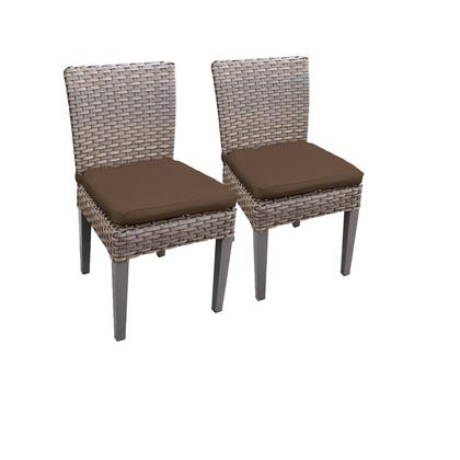 TKC290b-ADC-C-COCOA 2 Oasis Armless Dining Chairs with 2 Covers: Grey and
