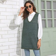 V-neck Plaid Longline Sweater Vest Without Blouse