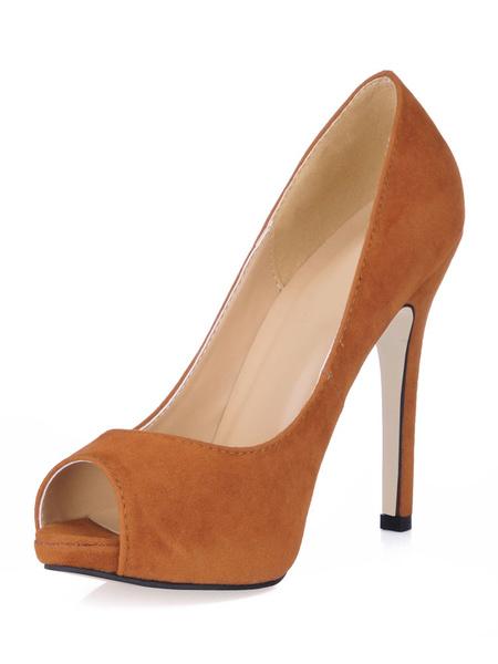 Milanoo Zapatos Peep toe Cuero con apariencia suave estilo modernoColor liso de tacon de stiletto para mujer
