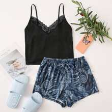 Contrast Lace Cami Top With Tribal Print Shorts PJ Set