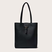 Buckle Decor Stitch Detail Tote Bag