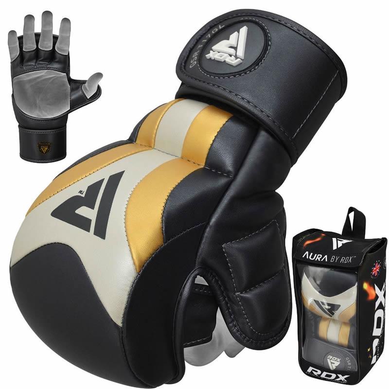 RDX T17 Aura MMA Gants De Combat Moyenne d'or Cuir PU