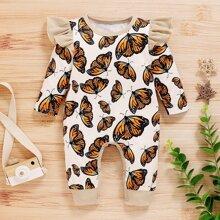 Jumpsuit mit Schmetterling Muster und Ruesche