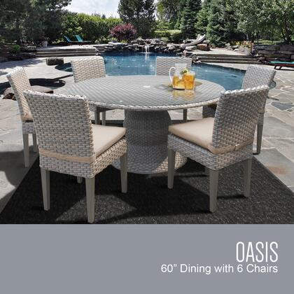 Monterey Collection MONTEREY-60-KIT-6C-WHEAT Patio Dining Set with 1 Table   6 Side Chairs - Beige and Wheat