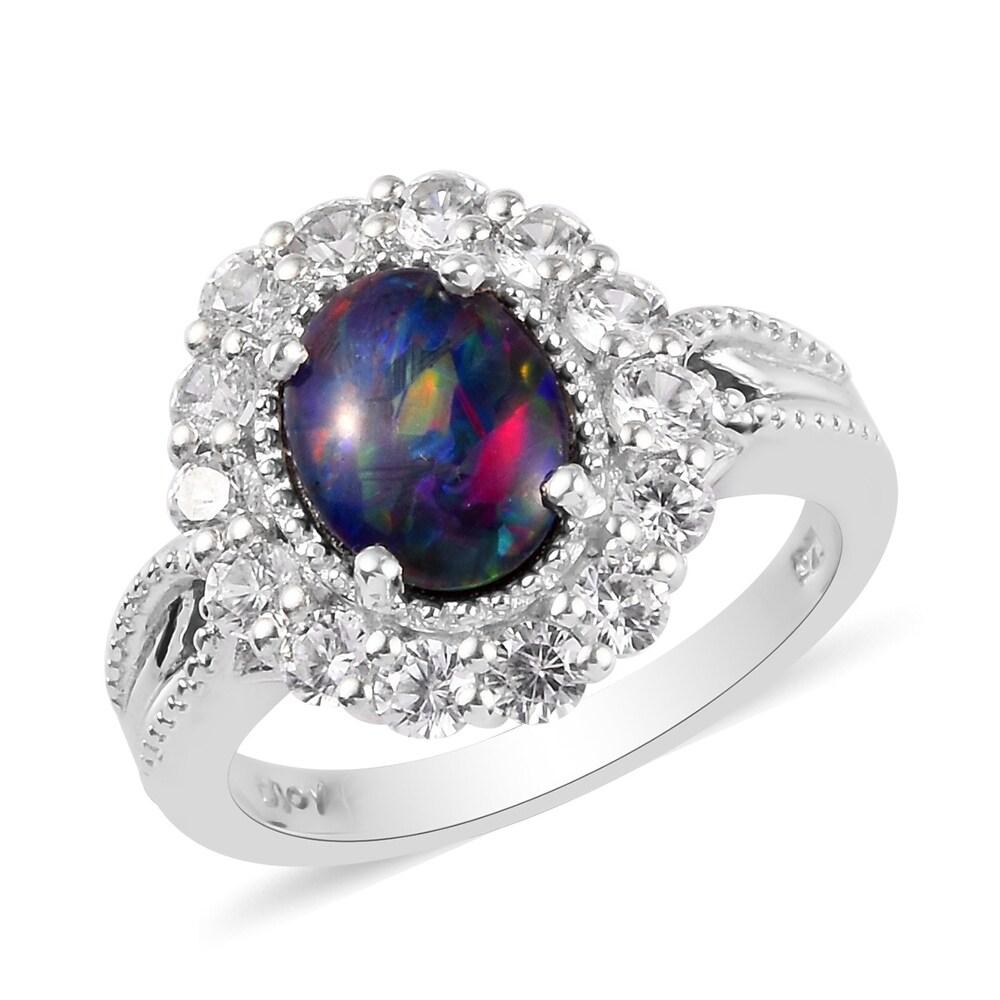 925 Sterling Silver Opal Triplet Zircon Halo Ring Size 9 Ct 2.1 - Ring 9 (Opal - Multi - Ring 9)