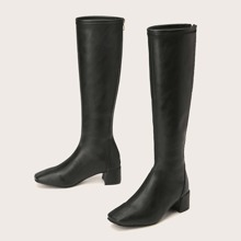 Square Toe Chunky Knee Boots