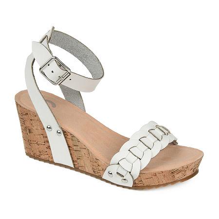 Journee Collection Womens Brynklee Pumps Wedge Heel, 9 Medium, White