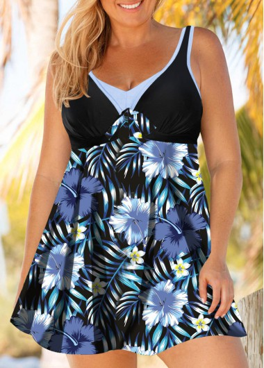 Women'S Plus Size Padded Swimdress Bathing Suit Navy Blue Floral Printed Strappy V Neck Hollow Back Swimsuit And Shorts By Rosewe - 0X