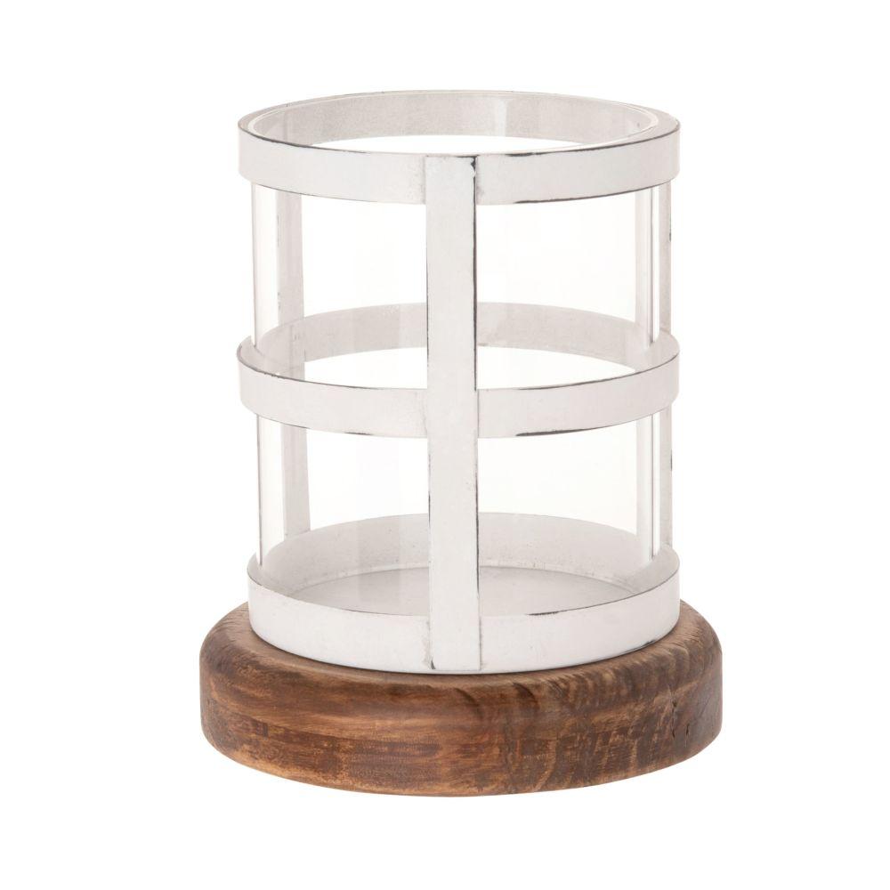 Kerzenhalter aus Glas, Tannenholz und weissem Metall in Antikoptik