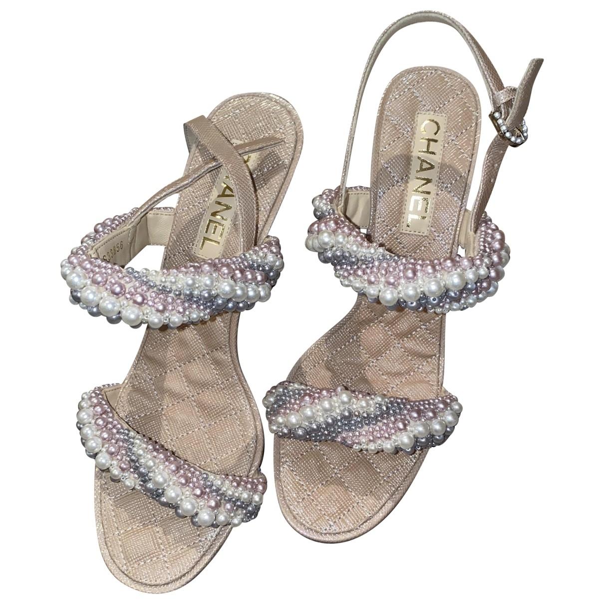 Chanel - Sandales   pour femme en cuir - dore