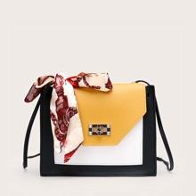 Twilly Scarf Decor Colorblock Crossbody Bag