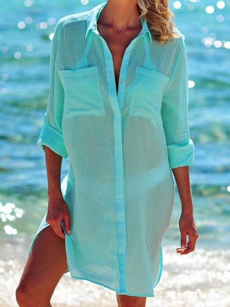 Milanoo Cubre sube Camisa de vestir para las mujeres de manga larga escarpada de verano traje de baño atractivo
