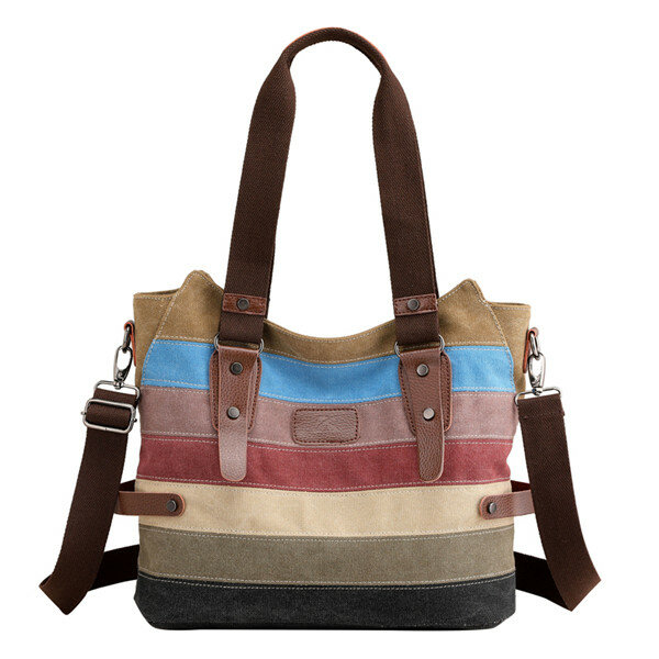 KVKY Women Canvas Stripe Handbags Vintage Contrast Color Shoulder Bags