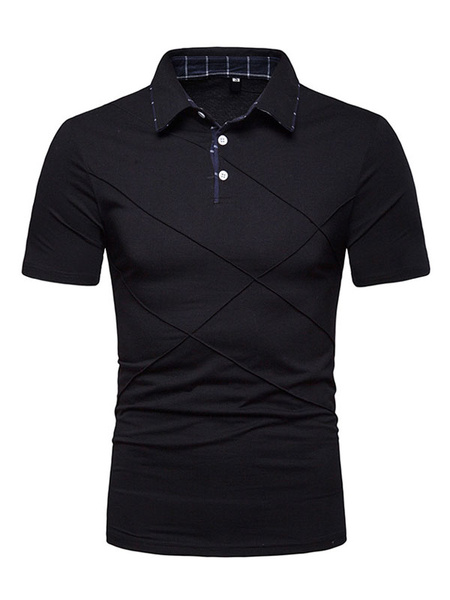Milanoo Men Polo Shirt Seam Ruch Slim Fit Short Sleeve Casual T Shirt