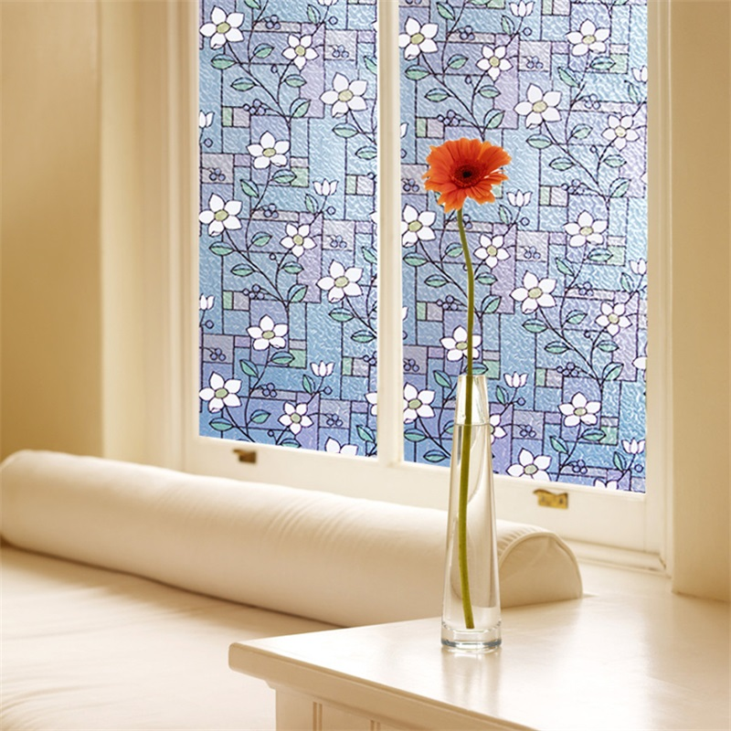 No-Glue Self Static Stained Glass Cling Floral Painting Window Film