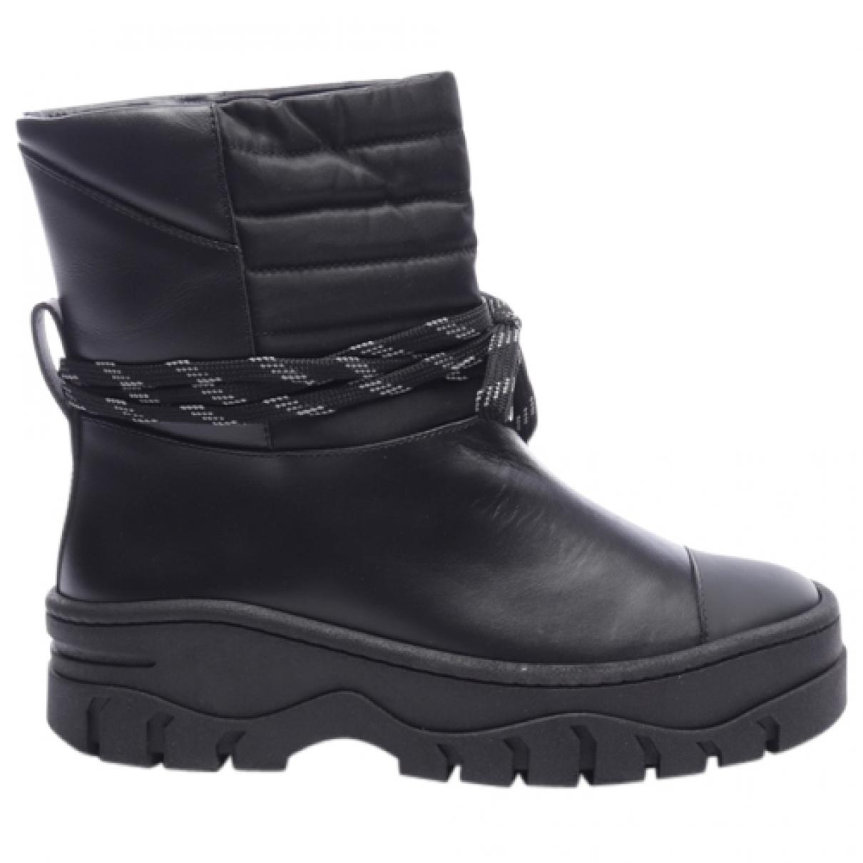 Ganni - Boots   pour femme en cuir - noir