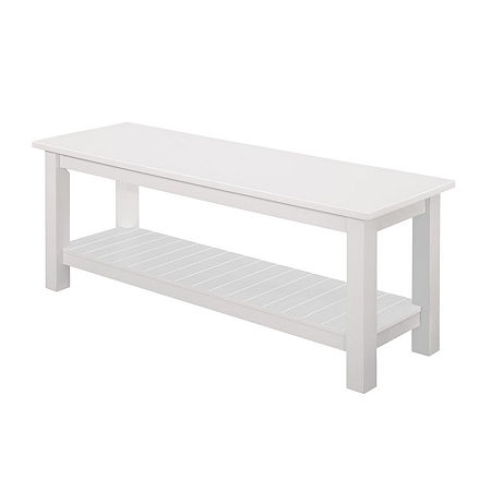 Country Style Entry Bench with Slatted Shelf, One Size , White