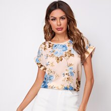 Floral Print Rolled Cuff Batwing Sleeve Top