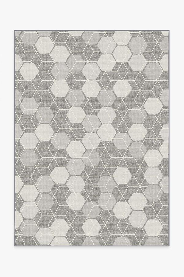 Washable Rug Cover | Outdoor Honeycomb Grey Rug | Stain-Resistant | Ruggable | 5'x7'