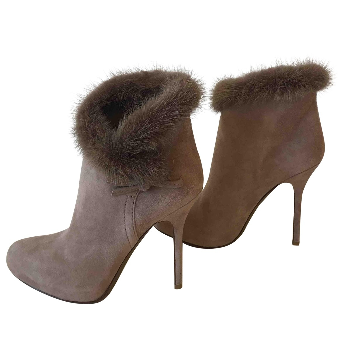Dior \N Beige Suede Ankle boots for Women 36.5 EU
