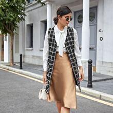 Tweed Weste Mantel mit Plaid Muster und zwei Taschen