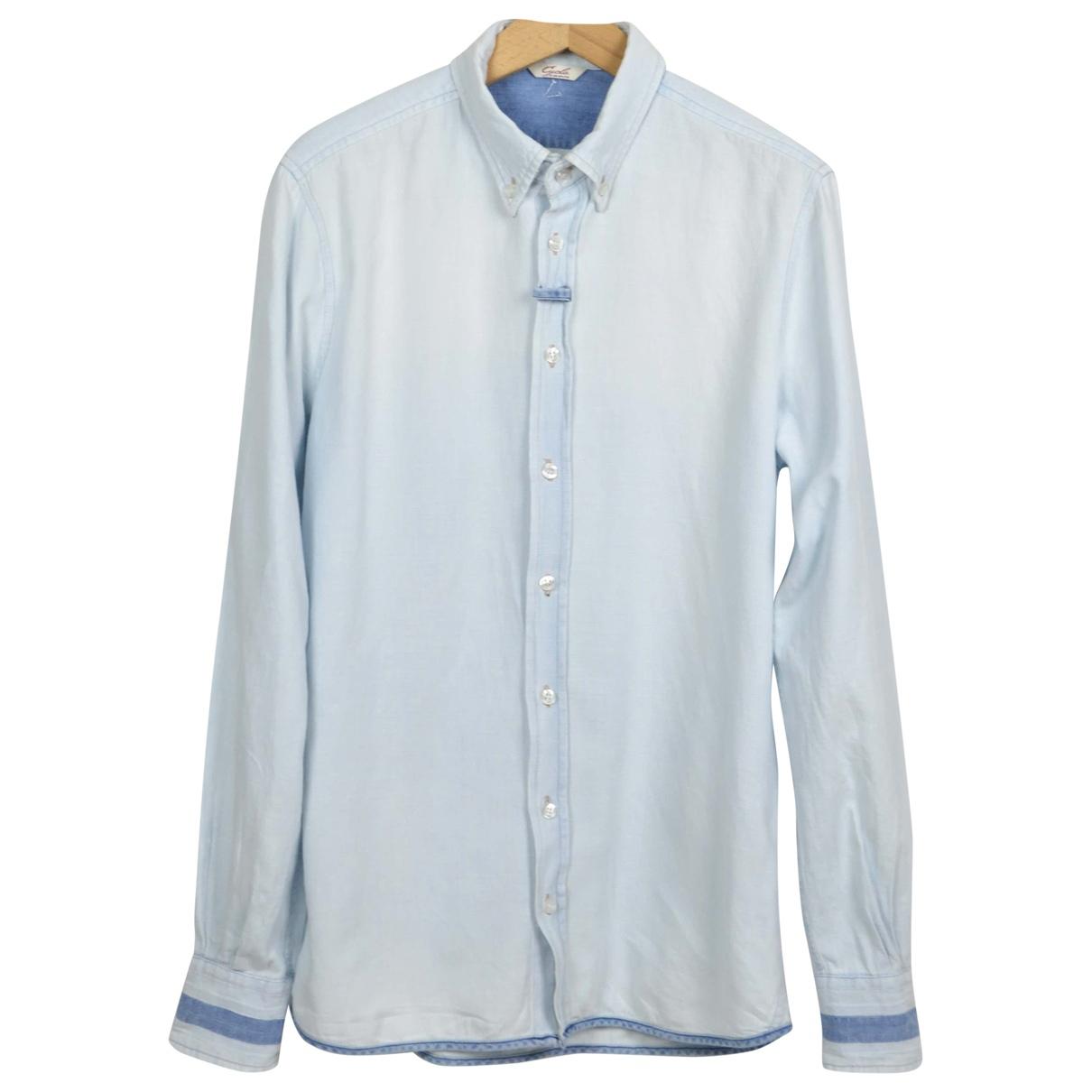 Cycle - Chemises   pour homme en coton - bleu