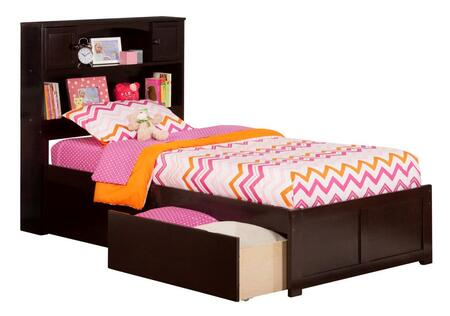 Newport Collection AR8522111 Twin Size Platform Bed with 2 Urban Bed Drawers  Casters  Flat Panel Foot Board  Hardwood Slat Kit and Eco-Friendly