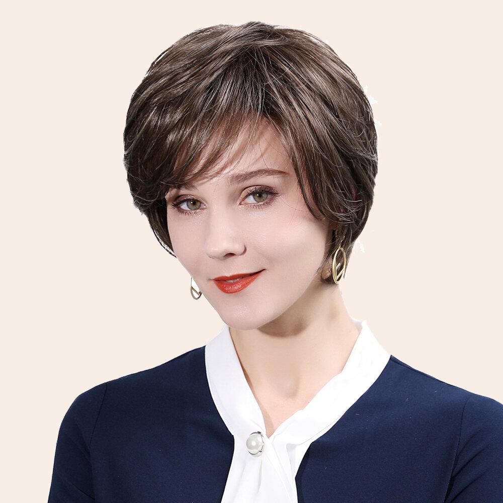 10 inch Brown Natural Breathability Human Hair Wigs Bangs Natural Fluffy Supple Short Hair Wig