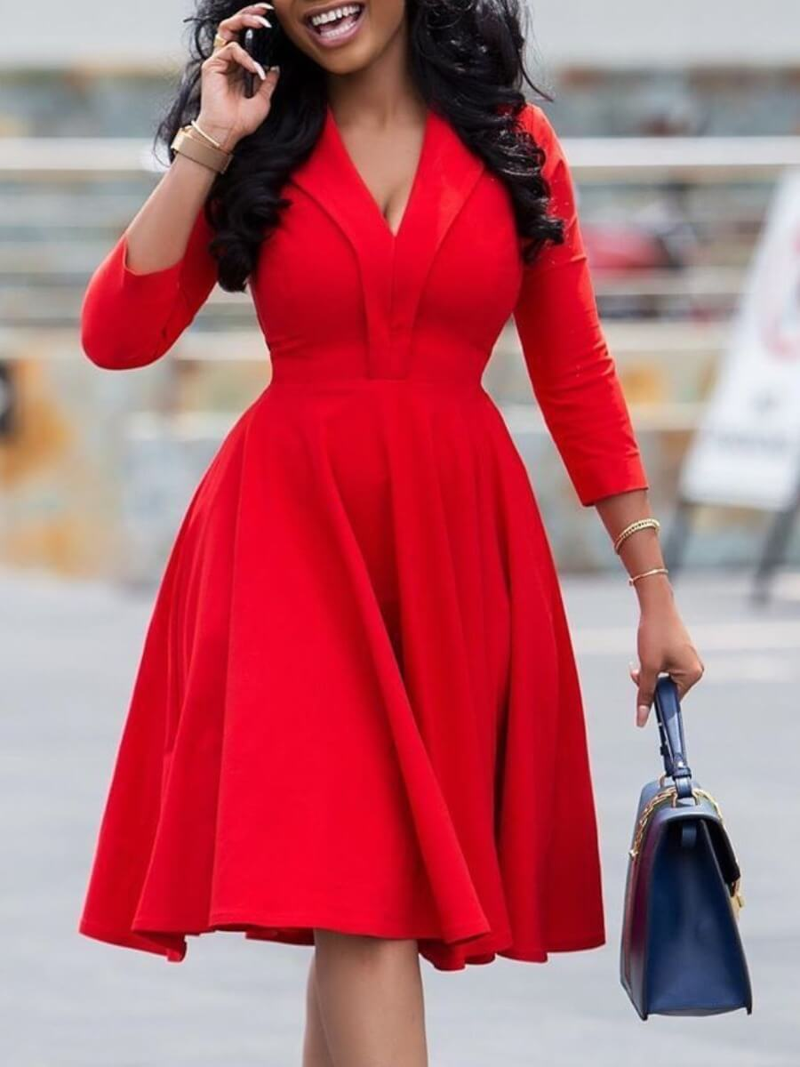 LW Lovely Formal V Neck Red Knee Length A Line Dress